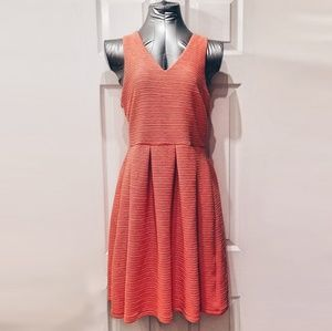 Coral A-line Pleated Dress